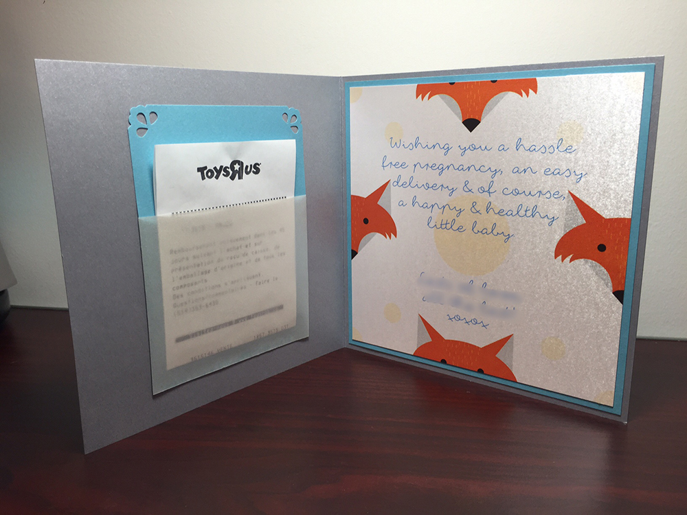 Baby Shower Greeting Card Inspired From The Gift That Accompanied Accessories Large Blue And Small Orange Ribbon An Inside